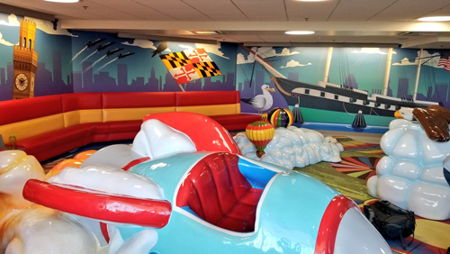A photo of the interior of the D/E Children's Play Area.