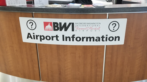 A photo of an Information Desk at BWI Marshall Airport.